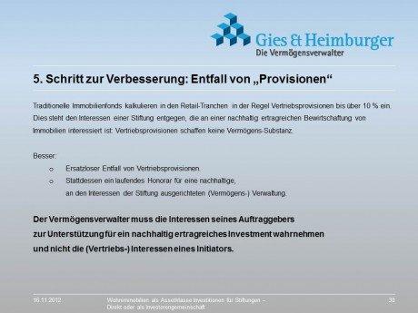 Entfall von Provisionen erhöht die Rendite für die Stiftung