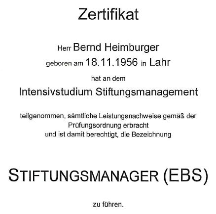 Zertifikat Stiftungsmanager (EBS) Bernd Heimburger